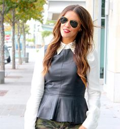 What Courtney Wore hair color Sleeveless Blouse Outfit, Peplum Top Outfits, What Courtney Wore, Camo Skinny Jeans, Leather Peplum, Cool Outfits, Amazing Outfits, Everyday Outfits, Leather Fashion
