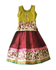 Kids girls Gorgeous royal pavadai / pavada / lehenga Size : 5 - 6 years Price : Rs 1050 Free shipping all over Inida whatsapp : +91-9629187349  http://www.princenprincess.in/index.php/home/product/426/Brown%20and%20green%20royal%20pavadai
