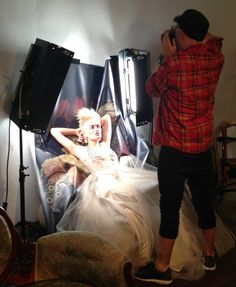 Behind the scenes on set with Photographer, Andrew O'Toole shooting Caterina Di Biase's 2013 collection - MASTERPIECE #hohb #caterinadibiase #photography #model #photoshoot #hair #AIPP #style #baroque #punk