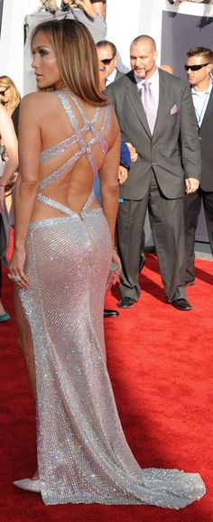 The back of JLO's strappy silver dress at the MTV VMAs.