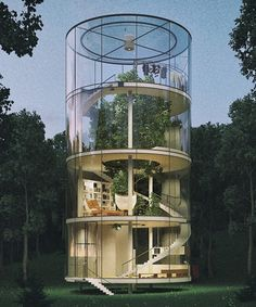 Modern Tree House is a tubular glass house built around tree, offering a unique view. Featuring a Big Tree in its Heart Modern Tree House by architecture… Villa Design, Amazing Architecture, Interior Architecture, Residential Architecture, Conceptual Architecture, Creative Architecture, Exterior Design, Interior And Exterior, Cafe Interior
