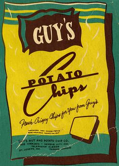 """guys potato chips. I remember an animated commercial of a Guys potato chip that eats himself in 4 or 5 bites until he disappears and then you hear """" Don't forget the Guys"""""""