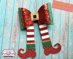 Free Holiday Christmas Elf Legs and Shoes Hair Bow Template Crafter File Christmas Hair Bows, Christmas Holidays, Christmas Crafts, Xmas, Christmas Gingerbread, Diy Hair Bows, Diy Bow, Elf Legs, Cricut Design Studio