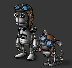 Robot character illustration and his dog sidekick designed by DORARPOL™ for John at Jolly Logic. A sky pilot cap and goggles provides a steampunk feel. #art #cartoon #mascot