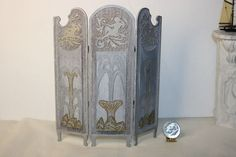 Miniature Dollhouse Josephine Meyer Art Nouveau Folding Privacy Screen OOAK 1:12 #Artisan