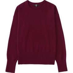 UNIQLO Women's Cashmere Crew Neck Sweater ($70) ❤ liked on Polyvore featuring tops, sweaters, wine, loose sweater, purple crew neck sweater, purple top, uniqlo and crew neck top