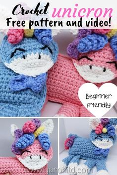 Make a cute ragdoll amigurumi unicorn and learn how to make it safe for babies. A free crochet patterns. Crochet ragdoll pattern. Crochet unicorn. Crochet unicorn pattern free. Crochet unicorn pattern. Crochet unicorn pattern free amigurumi. #crochetunicorn #amigurumiunicorn. Crochet Unicorn Pattern Free, Crochet Flower Patterns, Crochet Patterns For Beginners, Crochet Patterns Amigurumi, Crochet Toys, Amigurumi Toys, Baby Blanket Crochet, Crochet Baby, Learn To Crochet