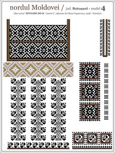 Semne Cusute: iie din nordul MOLDOVEI, Botosani Blackwork Embroidery, Folk Embroidery, Embroidery Patterns, Quilt Patterns, Loom Beading, Beading Patterns, Cross Stitch Designs, Cross Stitch Patterns, Palestinian Embroidery