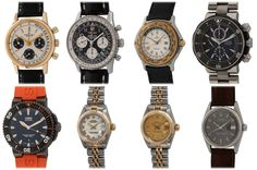 """Today's update includes a pair of Breitling Chronographs, a pair of Rolex Ladies Datejusts & a vintage Datejust """"Wide Boy Sigma"""", two Oris, and an Ebel Voyager.  Let us know if you have any questions on any of our watches. Breitling Chronograph, We Watch, Popular Watches, Mechanical Watch, Rolex, Vintage, Accessories, Vintage Comics, Primitive"""