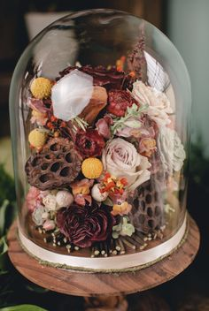 Free standing cloche filled with #preserved #weddingbouquets #bridalbouquet #driedflowers Wedding Decorations, Wedding Ideas, Table Decorations, Freeze Dried Flowers, Wedding Bouquets, Wedding Flowers, Memorial Flowers, How To Preserve Flowers, Flower Petals