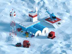 Low poly polar station