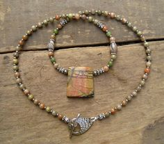 Picasso Jasper Necklace simple earthy jasper jewelry by ArtifactsEtCetera, $40.00