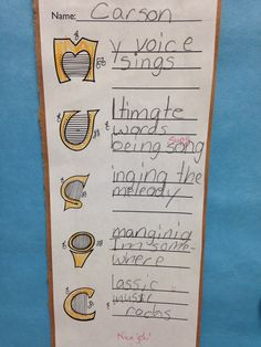 Music acrostic....THINK: Music In Our School Month !