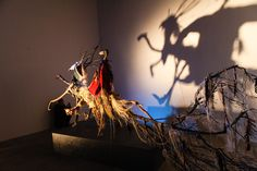 """In the """"Authors"""" hall, the artists Yurii Denisenkov and Ivan Mikhaylov recreated the rider of the storm from the scene with the molfar (wizard) in the film """"Shadows of Forgotten Ancestors"""" #interdema #exhibition #art #SergeiParajanov #ShadowsofForgottenAncestors #Kyiv #Ukraine"""