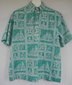 fbd585d9 Vintage Reyn Spooner Hawaiian Shirt Reverse Print Sailboat Ship Bird  Lighthouse Anchor Nautical XL by BuckeyeTreasurByRyan