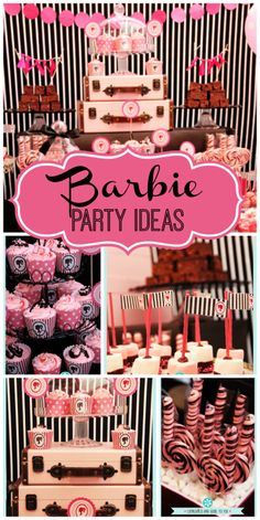 The Barbie themed girl birthday party has a lovely dessert table with marshmallow pops and cupcakes!  See more party ideas at CatchMyParty.com!
