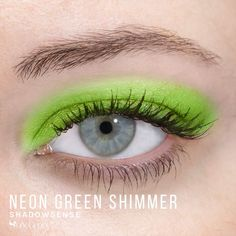 Limited Edition Neon Green Shimmer ShadowSense is part of the Color Surge Collection.  It is described as a vibrant, metallic green.  Get the perfect 80's look at your next night at the club. #neon