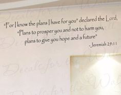 For I Know Plans I Have You Jeremiah 29:11 Inspirational Home Living Room Religious God Bible Vinyl Quote Wall Decal Sticker Art Decor R42