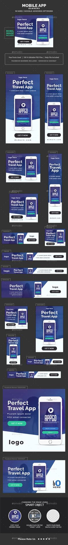 App Store Banners Design Template - Banners & Ads Web Elements Template PSD. Download here: https://graphicriver.net/item/app-store-banners/17741129?s_rank=1&ref=yinkira