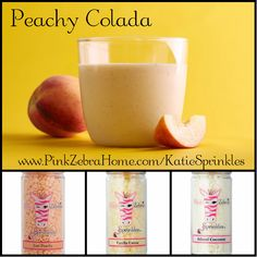 """Peachy Colada"" 1/3 Just Peachy, 1/3 Vanilla Creme, 1/3 Island Coconut  www.PinkZebraHome.com/KatieSprinkles #PinkZebra #Sprinkles #Recipes"