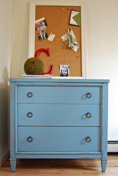 cute dresser and moss ball