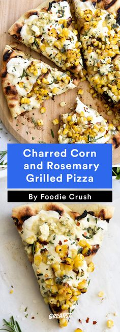 Charred Corn and Rosemary Grilled Pizza veggie pizzas) Mushroom Pizza Recipes, Healthy Pizza Recipes, Vegetarian Recipes, Cooking Recipes, Healthy Food, Vegetarian Grilling, Healthy Grilling, Grill Recipes, Barbecue Recipes