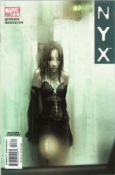 Original and final cover art by Josh Middleton from NYX #3, published by Marvel Comics, February 2004. This issue featured the first appearance of X-23. Also included are three sketchbook pages by Middleton.