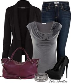 """""""Jacket and Gray Top"""" by denise-schmeltzer ❤ liked on Polyvore"""