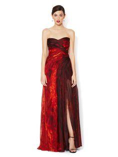 Stunning. Lava Print Chiffon Strapless Silk Gown by Monique Lhuillier at Gilt