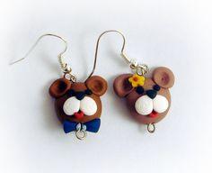 Teddy Bear Couple Face Earrings Boy/Girl Handmade in Polymer Clay $16.00