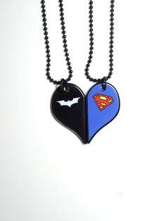 Batman and Superman-Half Heart Necklace Set by HappysCharms