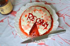 DIY Halloween Party REDRUM Cake with Boozy Cream Cheese Frosting Recipe
