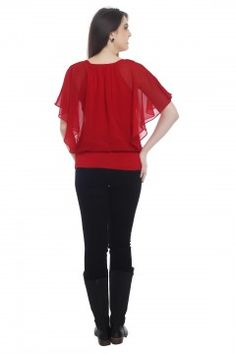 Red Shimmy Shoulder Butterfly Top