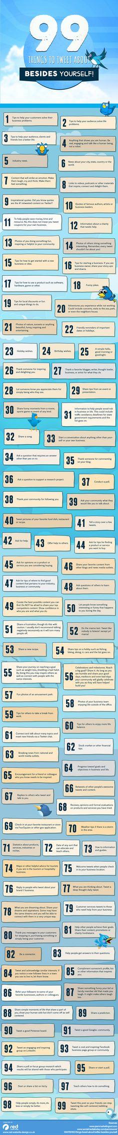 Una genial #infografía con 99 ideas para tuitear