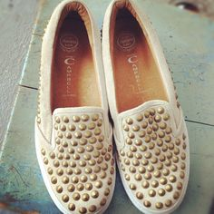 Jeffrey Campbell flats. Look more casual then dressy - better studded everyday look.