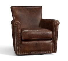 Irving Leather Swivel Armchair, Bronze Nailheads, Polyester Wrapped Cushions, Molasses