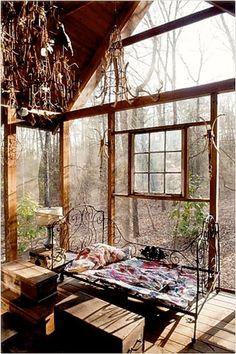 rustic screened porch, chandelier from twigs & bones