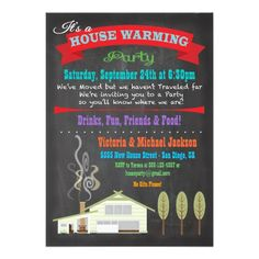 Shop Chalkboard House Warming Party Invitations created by McBooboo. Diy Projects For School, 30th Birthday Ideas For Women, Housewarming Party Invitations, Invites, Open House Invitation, New House Announcement, Diy Baby Gifts, House Party, Party Party