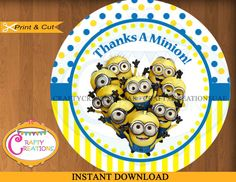 Minions Favor Tag Despicable Me Thanks a by CraftyCreationsUAE