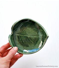 Green Leaf Bowl - Ceramic, Pottery