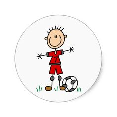 Boy Red Uniform Soccer Round Stickers