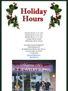 Our Christmas hours. Check out this Mad Mimi newsletter