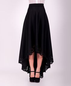 Look at this Black Lace-Trim Hi-Low Maxi Skirt on #zulily today!