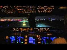 Cockpit 747-400 Miami Night Departure and Take-off.