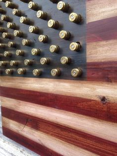 Rustic Wood 2nd Amendment Right to Bear Arms Bullet Star American Flag Sizes: 12in x 24in 16in x 24in 24in x 48in Handmade featuring 50 spent brass shell casings in place of stars -- choice of bullet caliber: .22 .380 9mm .40 .45 All flags are made with a rustic/weathered/distressed finish unless