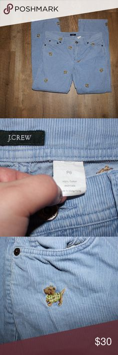 J.Crew Light Blue Corduroy Scottie Dog Pant Super cute J. Crew pants. The have scottie dogs in yellow and green sweaters embroidered in them. Size 6P, and in great condition. J. Crew Pants