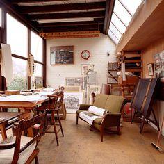 Edward Bawden's studio at his home in Saffron Walden
