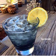 VIOLET FIZZ Gin Violet Liqueur Fresh Lemon Juice Simple Syrup  Club Soda
