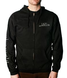 """Soft, high quality, black zip -up hoodie with Lady A logo on the chest and """"Own The Night"""" printed down the arm."""