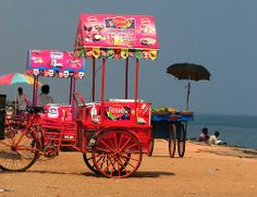 Day 24/$24,000: An ice cream as we stroll the beach of Pondicherry, total $5.